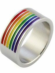 Dazzle Beautiful Colorful Rainbow Titanium Steel Ring