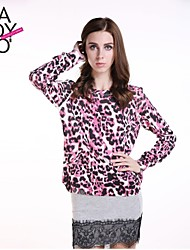 haoduoyi® Women's Light Purple Leopard Print Round Collar Knitted Pullover Sweater