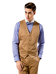Burgundy Solid Tailored Fit Vest In Polyester