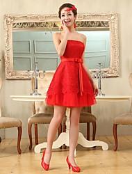 regresso a casa vestido de coquetel - ruby mais tamanhos de uma linha / princesa strapless curto / mini chiffon / rendas