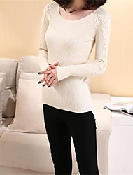 Women's Pink/Red/Black/Green/Beige Pullover , Bodycon/Lace Long Sleeve
