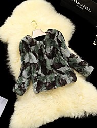 Fur Coats Women's Army Green Camouflage Fur Rabbit Hair Short Fur Jacket