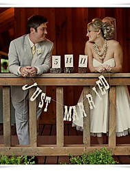 Wedding Décor White JUST MARRIED  Banner Buntings Photo Props Party Decor