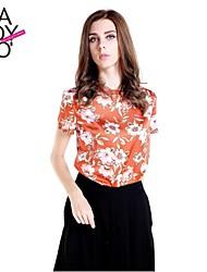 Women's Orange Shirt Short Sleeve