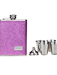 Personalized Gift 8oz Stainless Steel Pearl Leather Hip Flask Set
