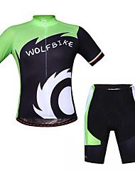 WOLFBIKE Cycling Jersey with Shorts Unisex Short Sleeve Bike Breathable Front Zipper Back PocketSleeves Jersey + Shorts Clothing