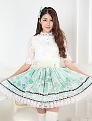verde bastante lolita trébol princesa falda kawaii encantador cosplay