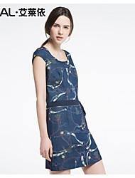 abito estivo elegante o-collo della stampa del bicchierino-manicotto sottile del vestito denim un pezzo di eral®women con cintura fiocco