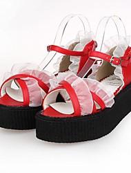 rojo pu plataforma 5.5cm cuero zapatos dulce lolita