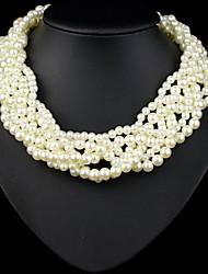 de múltiples capas collar de perlas blancas de lujo