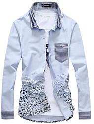 Men's Fashion Slim Cotton Ink Long Sleeved Shirt