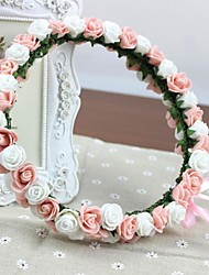 100% Hand-made PE Foam Roses Headband Wedding Bridal Garland Artificial Flowers Headpieces Pink And White Rosettes Girl