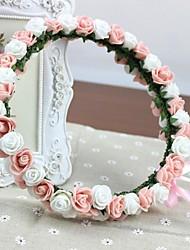 100% roses de mousse PE faits à la main headband mariée mariage guirlande fleurs artificielles Coiffes rose et rosettes blanches fille