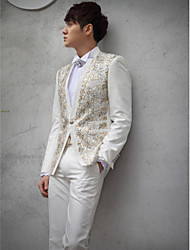 White Sequins Slim Fit Tuxedo In Polyester