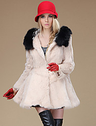 Fur Coat Long Sleeve Hooded Rabbit Fur&Raccoon Fur Special Occasion/Casual Fur Coat(More Colors)