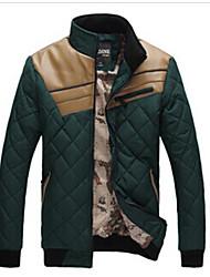 Wans мужская цветовой контраст стоять шеи длинный рукав пальто