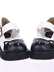 blanco pu plataforma de 5 cm de cuero zapatos dulce lolita
