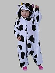 Kigurumi Pajamas Milk Cow Leotard/Onesie Festival/Holiday Animal Sleepwear Halloween White Animal Print Polar Fleece Kigurumi For Kid