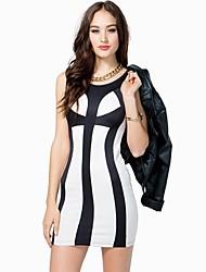 Sexy Цвет аварии тонкий платье женщин