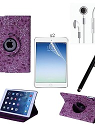 PU Leather Full Body Case with Touch Pen and Protective Film 2 Pcs and Headset for iPad Air 2/iPad 6