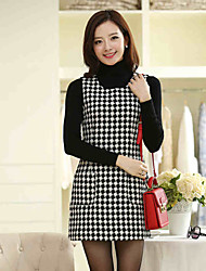 Women's Work / Plus Sizes Plaid Sheath Dress , Round Neck Above Knee Tweed