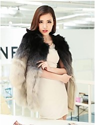 gradiente de cor casaco de pele de raposa casacos de pele das mulheres