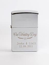 Patrón de boda de grabado personalizado aceite de metal de plata más ligero