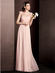 Floor-length Square Bridesmaid Dress - Elegant Short Sleeve Silk