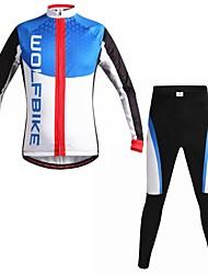 wolfbike automne et l'hiver VTT vêtements respirant définir le maillot de cyclisme à manches longues pour hommes
