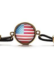 Gem de tempo a arte de vidro cabochão americano pulseira bandeira nacional (1 peça)