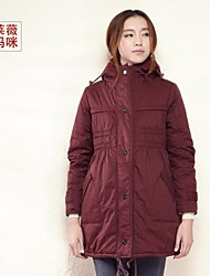 Maternity Long Down & Parka , Casual/Plus Sizes Long Sleeve Cotton/Polyester