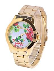 flor feminina aumentou tabela correia de aço circular relógio relógio movimento chinês (cores sortidas)