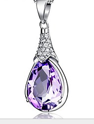 Ladies' Silver Droplets Pendants With Crystal
