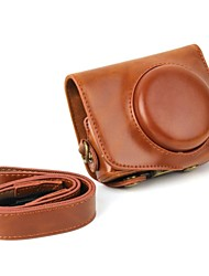 dengpin® rétro pu huile de cuir caméra peau étui de protection avec bandoulière pour canon powershot g7 x