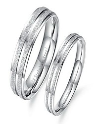 Fashion Romantic Silver Titanium Steel Couple Rings(2 Pcs)