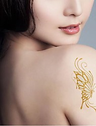 2 Pcs Waterproof Gold Glitter Gold And Silver The Pattern Of Butterfly  Tattoo Stickers