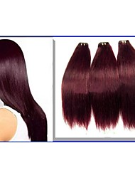 1Pcs 6A Straight Peruvian Hair 100% Human Hair Weaves #99J Red Wine
