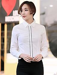 kvinders revers rene farve langærmet skjorte