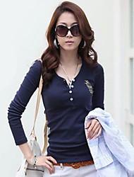 Mulheres Camiseta Casual Simples Primavera / Outono / Inverno,Sólido Azul / Branco / Preto Decote V Manga Longa Média