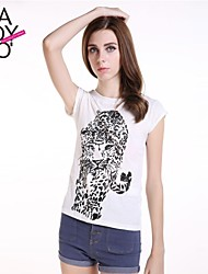 haoduoyi® Women's Cartoon Pattern Pleated Small Rotator Cuff Cotton T-Shirt