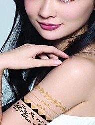 2 Pcs Waterproof Gold Glitter Gold And Silver Leopard Armlet Tattoo Stickers