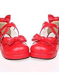 Lolita Shoes Sweet Lolita Lolita Platform Shoes Bowknot 3 CM Red / White / Black For Women PU Leather/Polyurethane Leather