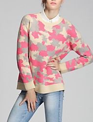 Women's Multi-color Pullover , Casual/Cute Long Sleeve