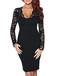 Meishang Women'Sv-Neck Lace Bodycon Dress