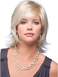 Charming Fashionable Slightly Tilted Medium Length Hair Wigs with Side Bang Light Blonde