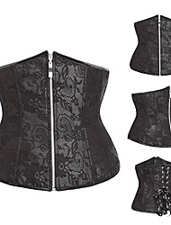 Black Floral Lace Satin Classic Lolita Corset