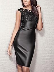 Women's Round Collar PU Stitching Wrap Dress