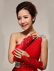 Elbow Length Fingerless Glove Lace Bridal Gloves