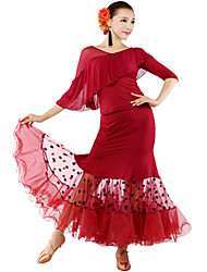 Ballroom Dancewear Women's Training Tulle Qmilch Ballroom Modern Dance Outfits Including Tops And Skirt (More Colors)