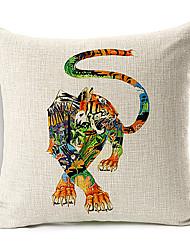 рисованной тигр рисунок хлопок / лен декоративная подушка крышка